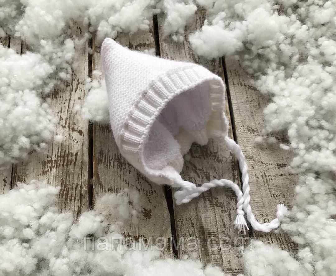 Вязаная шапочка, белая на махре, 3-6 мес.