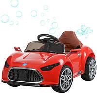 Детский электромобиль Mercedes M 3401 EBLR-3 красный, мягкие колеса, кожаное сиденье и МЫЛЬНЫЕ ПУЗЫРИ
