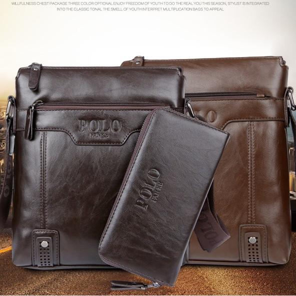 Мужская стильная кожаная сумка Polo. Модель 0443