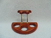 Подставка для трех трубок деревянная с латунными вставками, фото 1