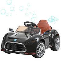 Детский электромобиль Mercedes M 3401 EBLR-2 черный, мягкие колеса, кожаное сиденье и МЫЛЬНЫЕ ПУЗЫРИ