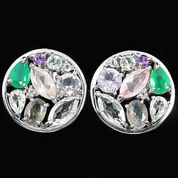 Серебряные серьги с натуральным Авантюрином Кварцом Аметистом