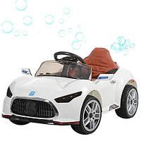 Детский электромобиль Mercedes M 3401 EBLR-1 белый, мягкие колеса, кожаное сиденье и МЫЛЬНЫЕ ПУЗЫРИ