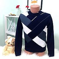 """Теплый, детский свитер на мальчика """"С круглой горловиной и принтом"""" вязка шерсть с акрилом"""