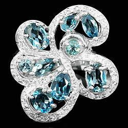 Серебряное кольцо с натуральными Топазами и Cz