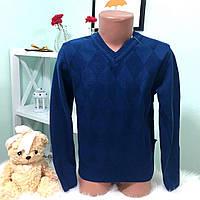 """Теплый, детский свитер на мальчика """"Ромбики, V-образная горловина"""" вязка шерсть с акрилом"""