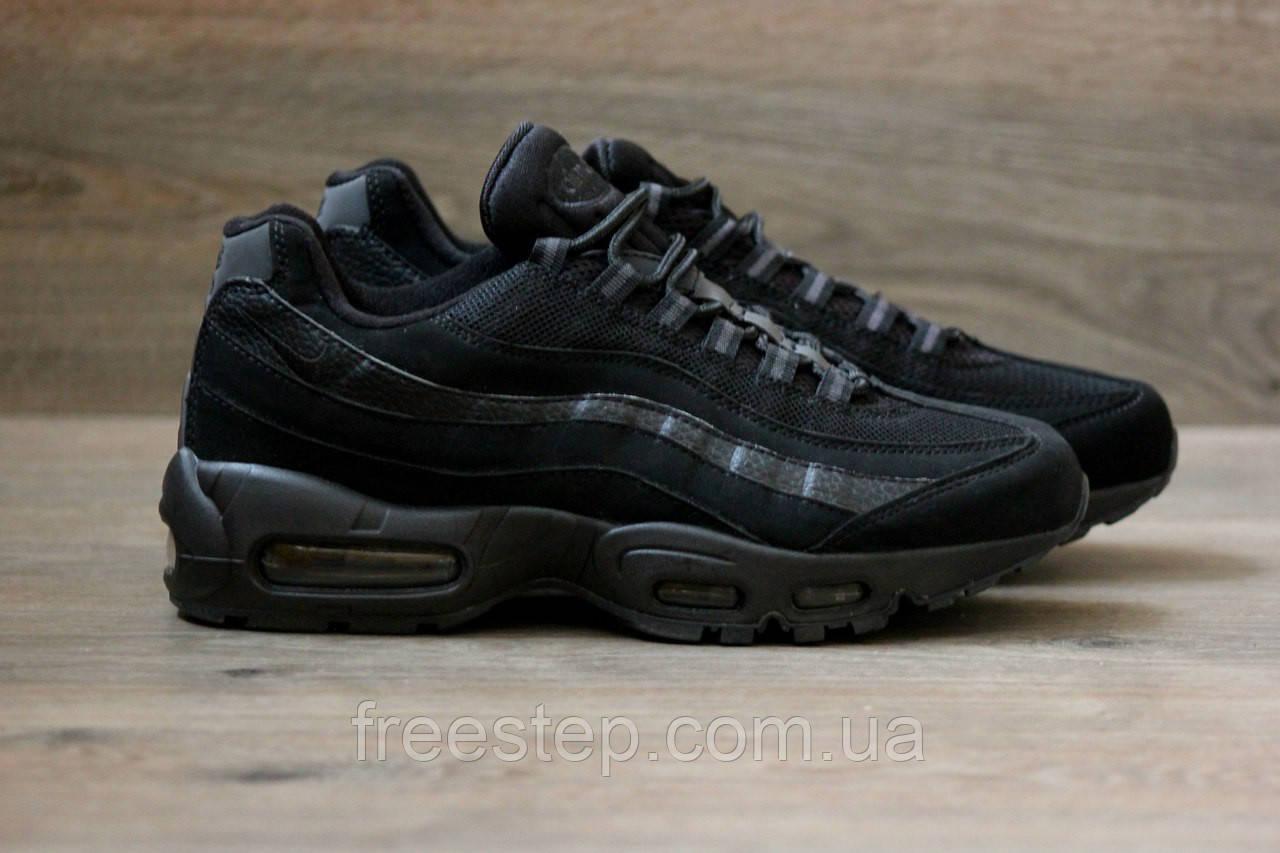 Мужские кроссовки в стиле NIKE Air Max 95 черные - Интернет-магазин