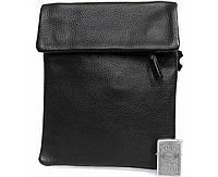 Удобная мужская кожаная сумка-планшетка формата А5 черная ALVI av-3-8009