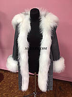 Парка с мехом лисы, верх плотный джинс, утеплитель испанский кролик, фото 1