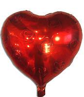 """Воздушные шары оптом. Шар фольгированый """"Сердце красное с розами"""", 43 х 48 см"""