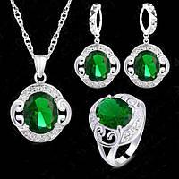 Ювелирный комплект Изысканность зеленый серебро 925 3 в 1