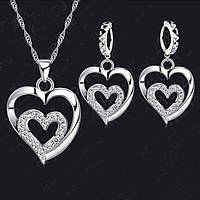 Ювелирный комплект Влюбленные сердечка серебро