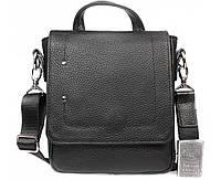 Функциональная мужская кожаная сумка с ручкой черная ALVI av-40-5187