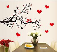 Інтер'єрна наліпка на стіну Пташки на гілці / Интерьерная декоративная наклейка на стену Птицы на ветке AY7179