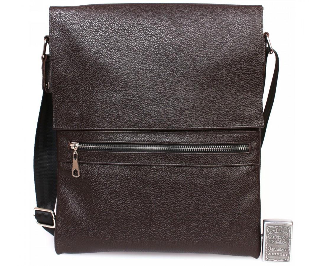 Стильная вертикальная мужская кожаная сумка формата А4 коричневая ALVI