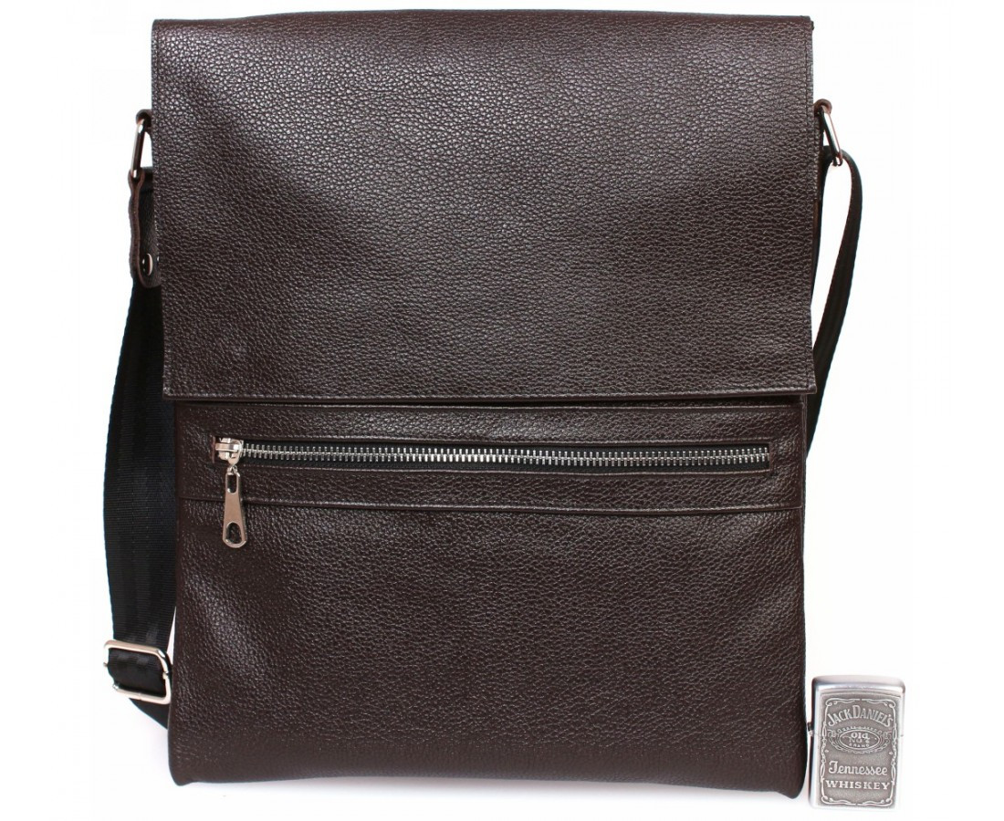 264a6944dc90 Стильная вертикальная мужская кожаная сумка формата А4 коричневая ALVI  av-93black