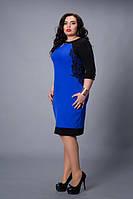 Нарядное яркое женское платье с кружевом увеличенных размеров
