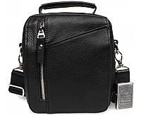 Практичная мужская кожаная сумка с ручкой черная ALVI av-5-4105