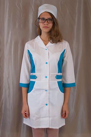 Медичний жіночий білий халат, прикрашений блакитними вставками., фото 2