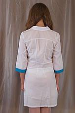 Медичний жіночий білий халат, прикрашений блакитними вставками., фото 3