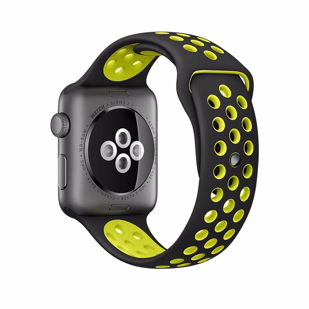 Спортивный ремешок с перфорацией Primo для часов Apple Watch 42mm / 44mm - Black&Yellow L