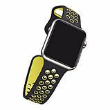Спортивный ремешок с перфорацией Primo для часов Apple Watch 42mm / 44mm - Black&Yellow L, фото 4