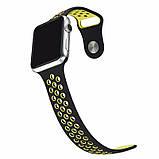 Спортивный ремешок с перфорацией Primo для часов Apple Watch 42mm / 44mm - Black&Yellow L, фото 5