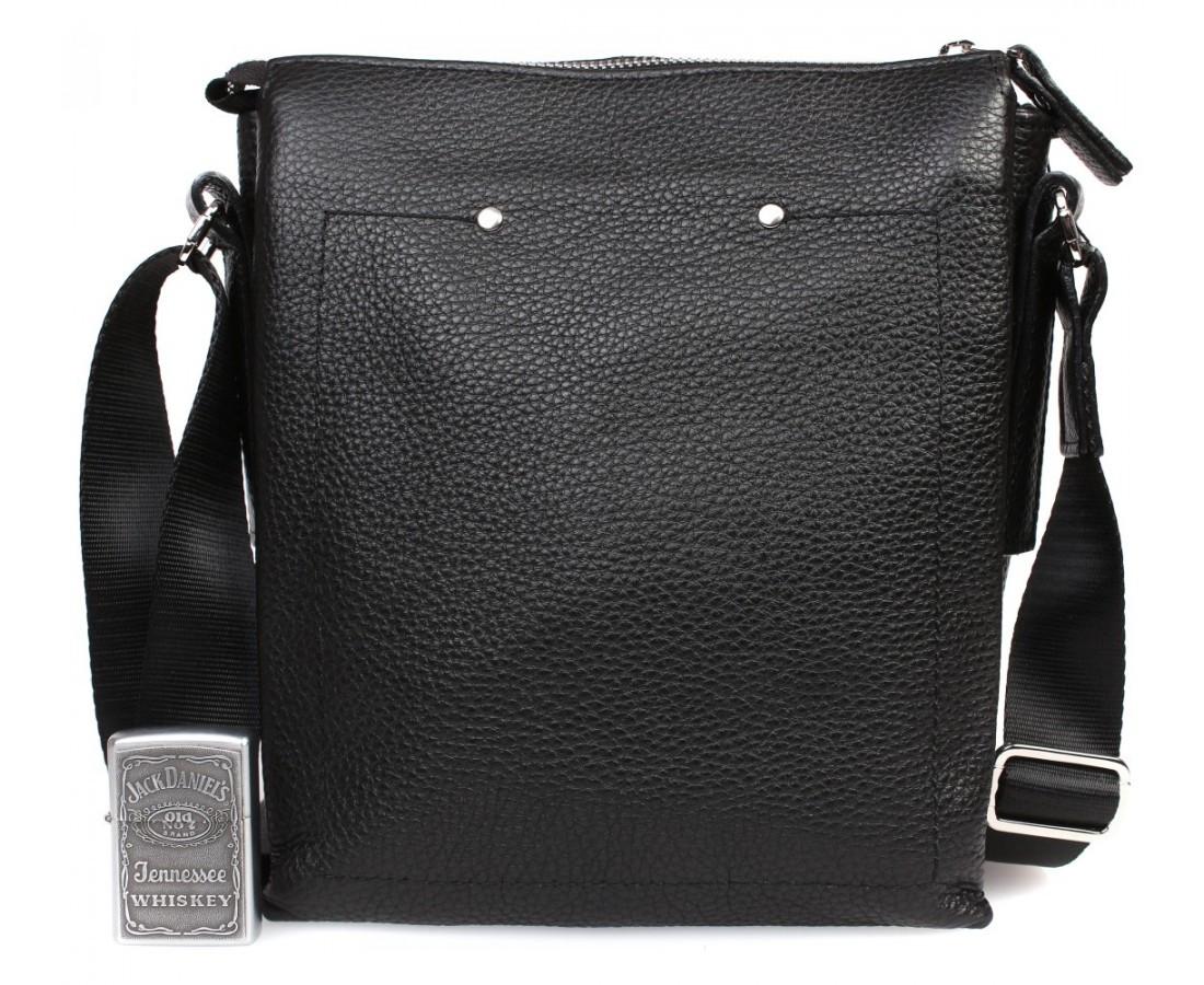 Повседневная мужская кожаная сумка формата А5 черная ALVI av-4455