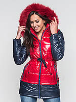 Зимняя двухцветная женская водонепроницаемая парка с натуральным мехом Modniy Oazis красная 90116/1, фото 1