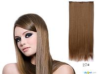 Накладные волосы локоны на клипсах,шиньон,трессы 60 см цвет натуральный