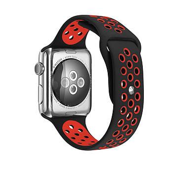 Спортивный ремешок с перфорацией Primo для Apple Watch 38mm / 40mm(M/L 130mm) - Black&Red