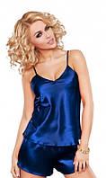 Атласная пижама синяя
