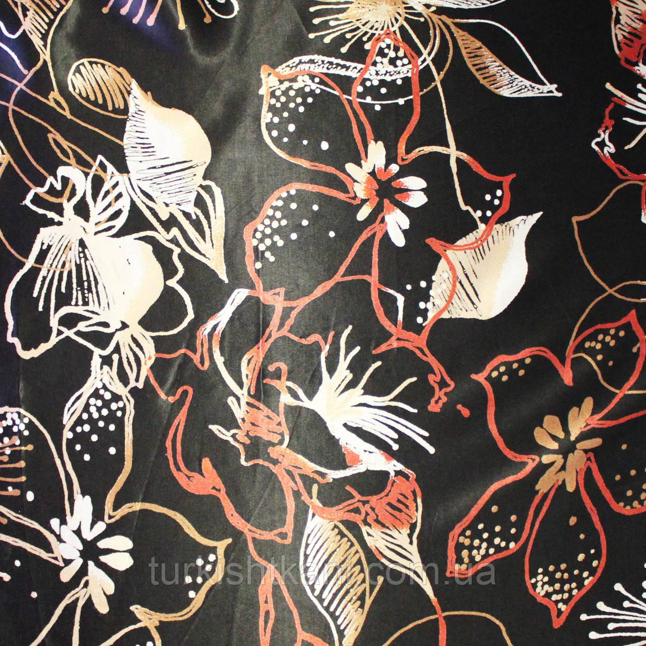 Ткань  Атлас Цветной Жаккард