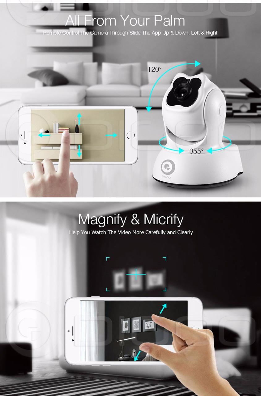 Камера Digoo BB-М2 беспроводная ночного видения IP Wi-Fi, HD P2P качество, видеоняя ONVIF черный цвет