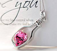 Подвеска Сердце в бутылке розовое/бижутерия/ цвет серебро