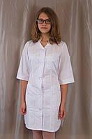 Медицинский женский белый халат из натуральной ткани