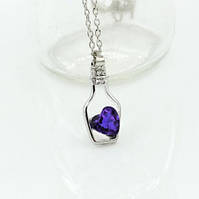 Подвеска Сердце в бутылке фиолетовое/бижутерия/ цвет серебро