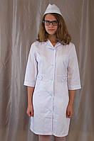 Медицинский натуральный женский белый халат, ткань котон.