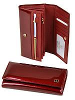 Большой кожаный кошелек Bretton. Лаковые кошельки женские. Пять цветов. Красный