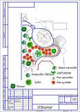 Ландшафт усадьбы с беседкой и площадкой для каркасного бассейна-фрагмент проекта