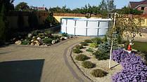 Ландшафт уусадьбы с беседкой и площадкой для каркасного бассейна