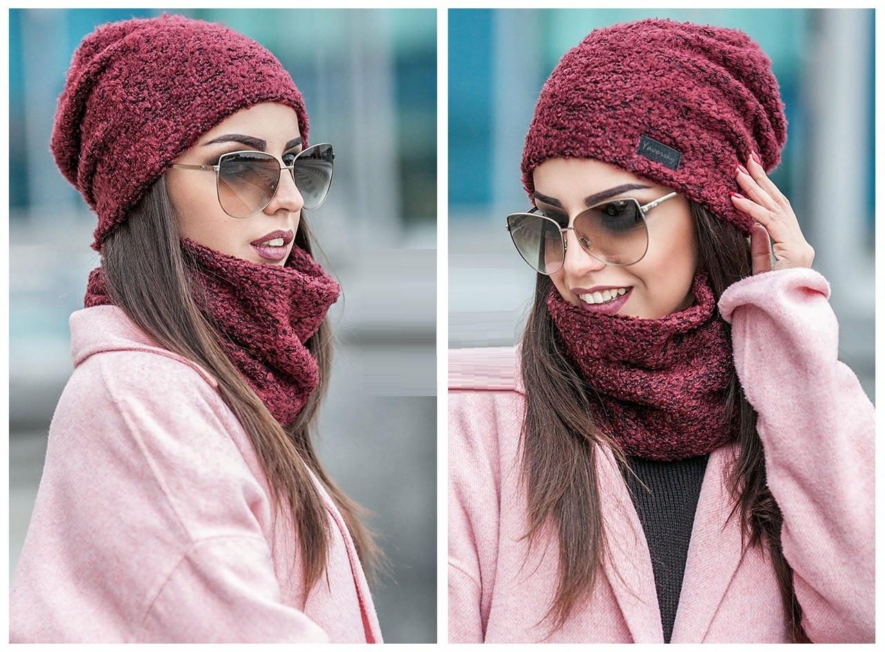 Стильная модная вязаная шапка 178 в расцветках