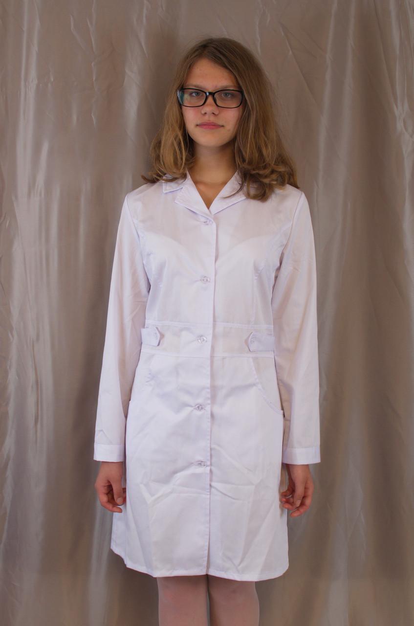 Медицинский качественный женский белый халат, ткань котон.