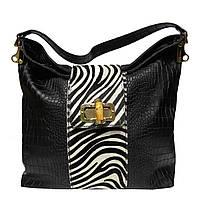 Женская сумка из натуральной кожи фабричная (отшита в Италии) черного цвета со вставками меха