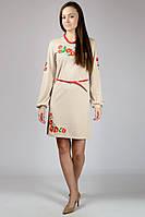 """Платье-вышиванка из трикотажной ткани""""Маки""""  (бежевого цвета)."""