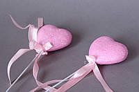 Сердце на палочке розового цвета блестящее 4,5 х 4,5 см