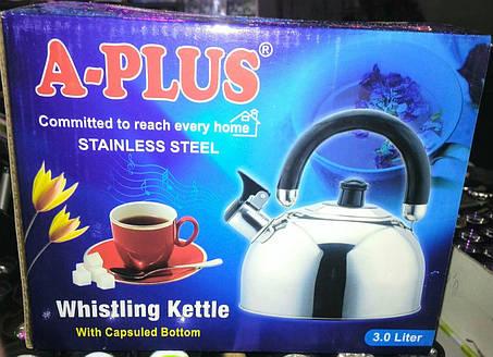 Чайник со свистком A-PLUS 3 л. (нержавеющая сталь), фото 2