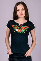 Трикотажная футболка-вышиванка украшена натуральной качественной вышивкой и двухцветным шнурочком на горловине