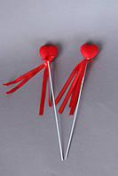 Сердце на палочке красного цвета бархатное 3 х3 см