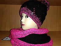 Catrina Kamea женская шапка и снуд, шерстяной, цвет черный с розовым